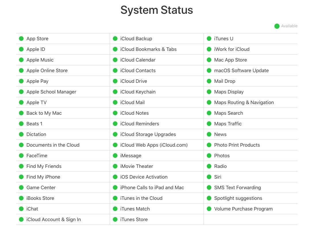 Apple Sistem Durumu