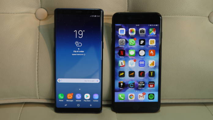 Galaxy Note 8 ve iPhone 7 Plus