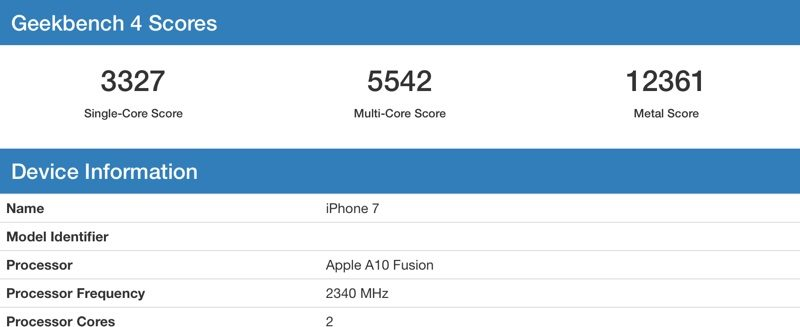 iPhone 7 - A10 Fusion Geekbench Puanı
