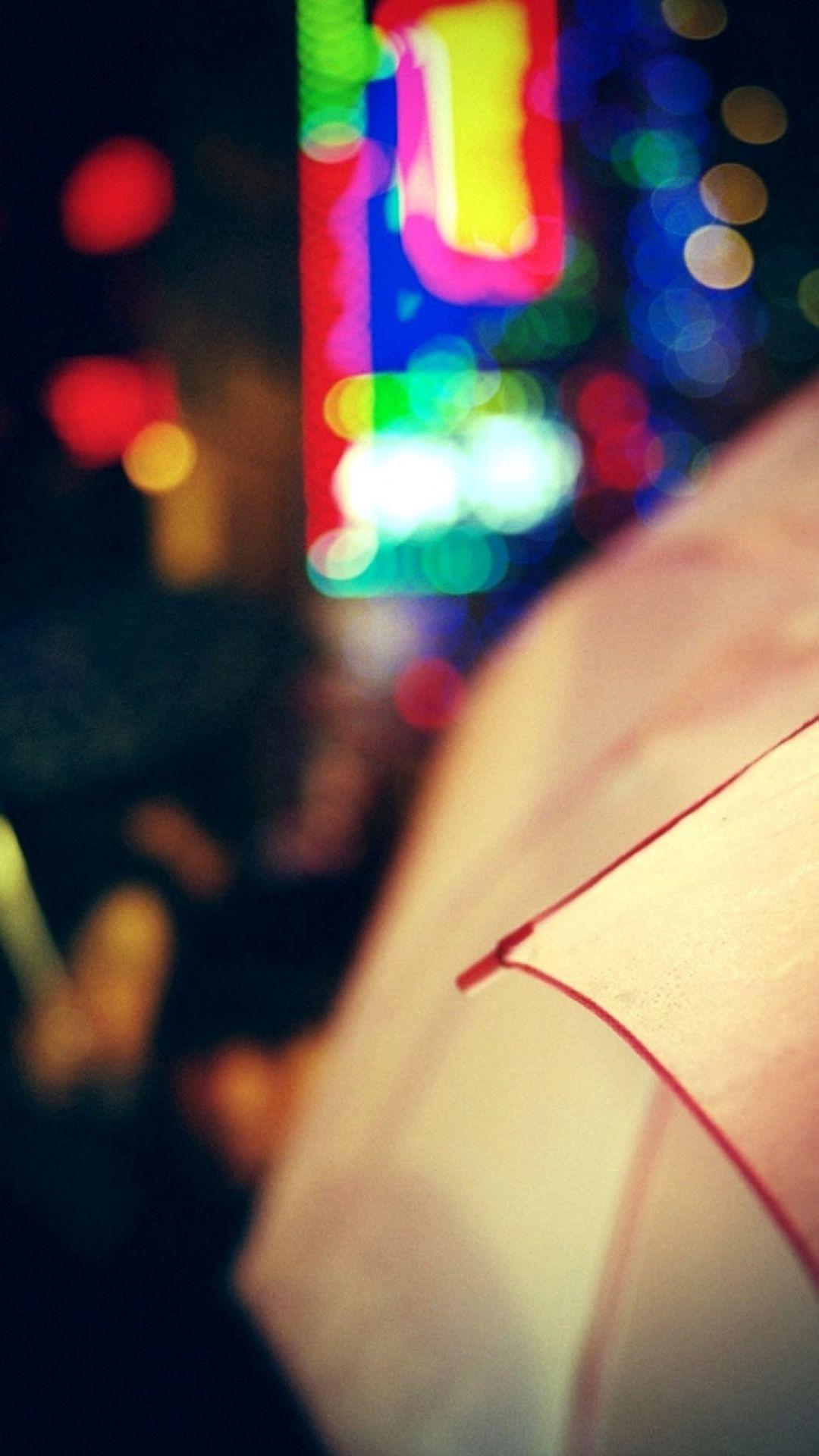City Umbrella Bokeh iPhone 6 Plus HD Wallpaper