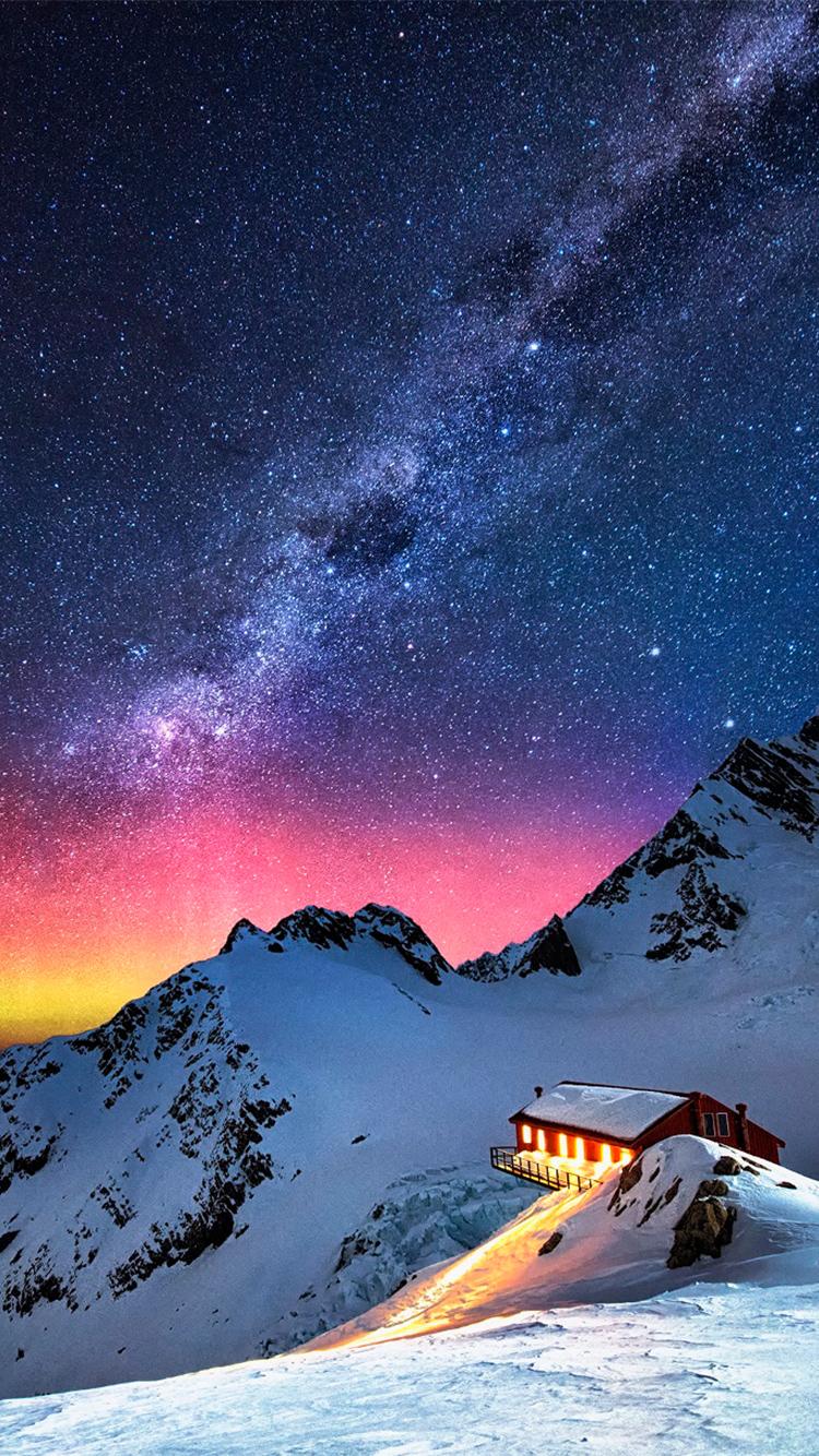 Snow Mountain Chalet Aurora Milky Way Stars iPhone 6 Wallpaper