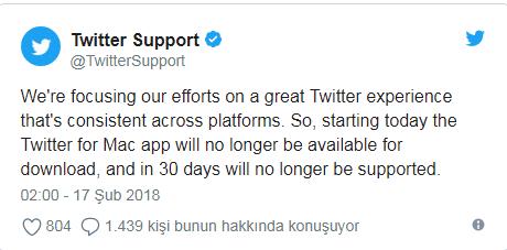 Twitter mac uygulamasına desteğini artık vermiyor2