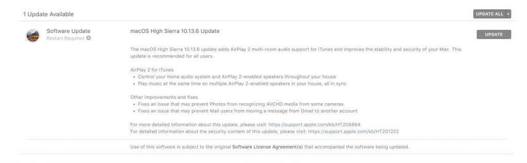 macOS High Sierra 10.13.6 Güncellemesi Çıktı!