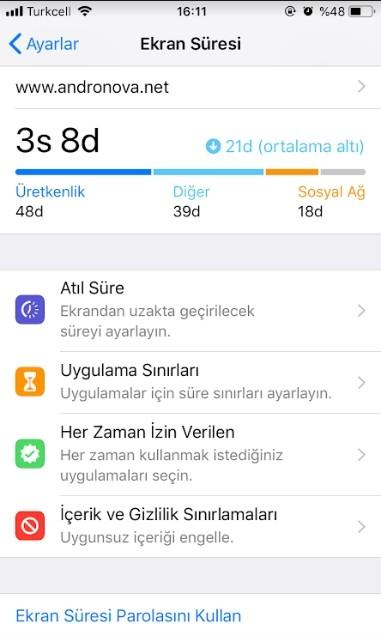 iPhone ekran suresini acma-2