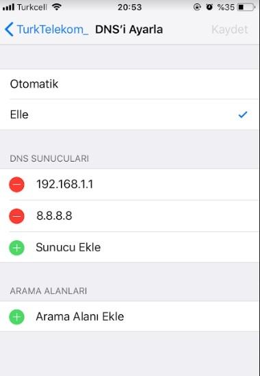 iPhone DNS degistirme ve DNS uygulamasi-5