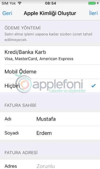 Apple kimligi olusturma Apple hesap acma-6