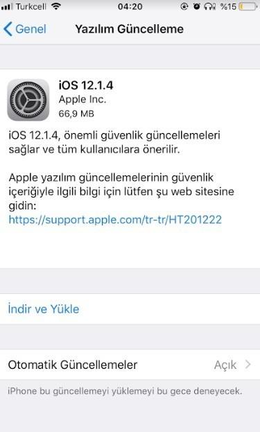 iOS 12.1.4 indirmeye acildi-2