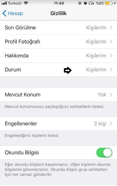 WhatsApp durum nasil gizlenir-4