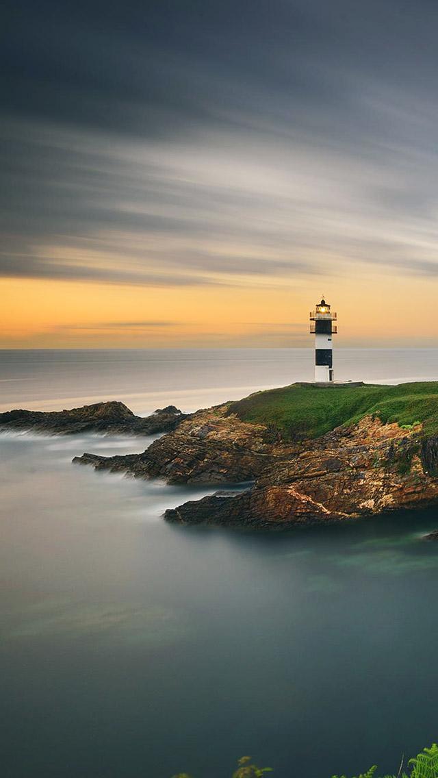 Beautiful Lighthouse Sunset Ocean iPhone 5 Wallpaper