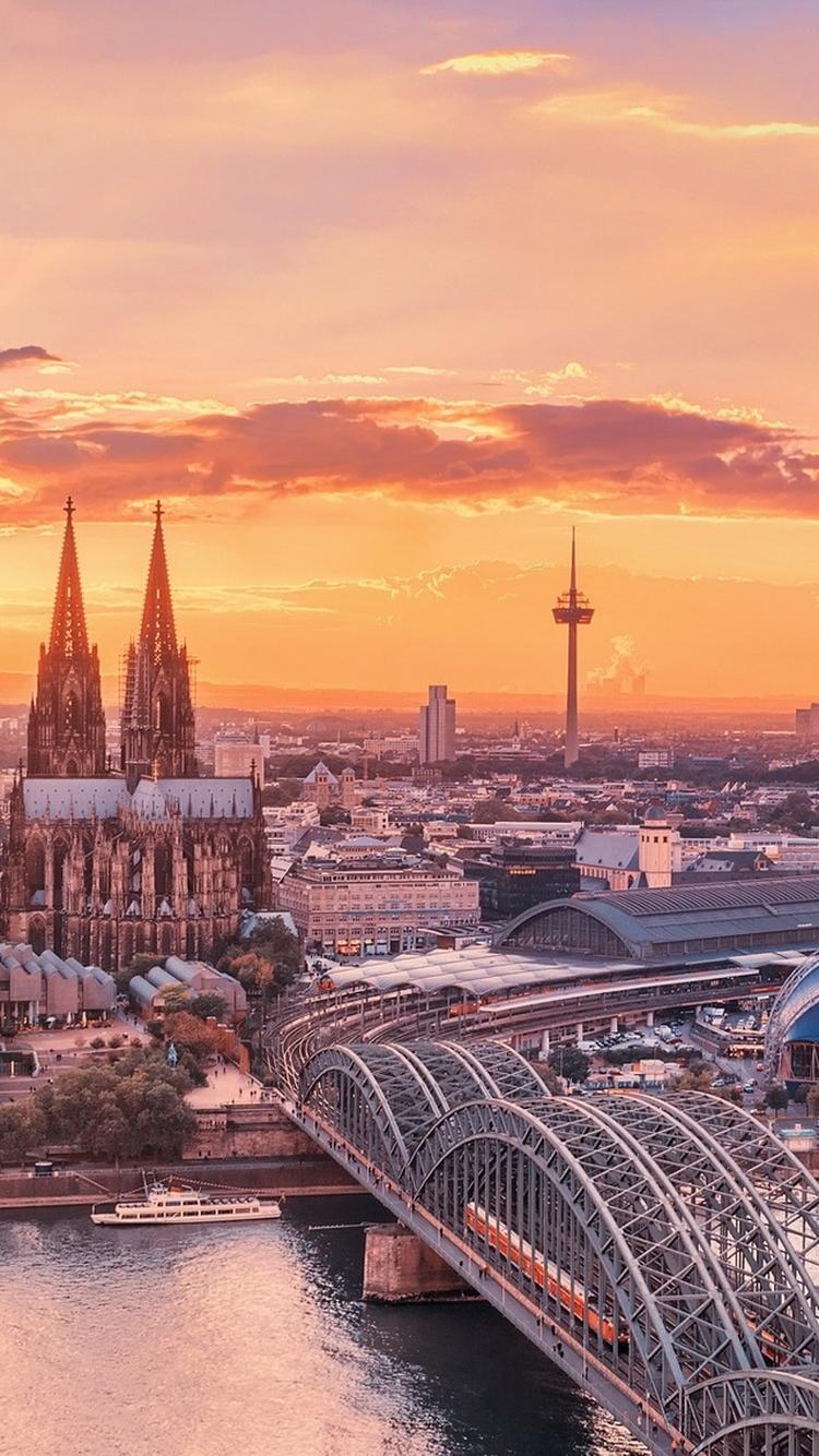 Cologne City Bridge View Sunrise iPhone 6 Wallpaper