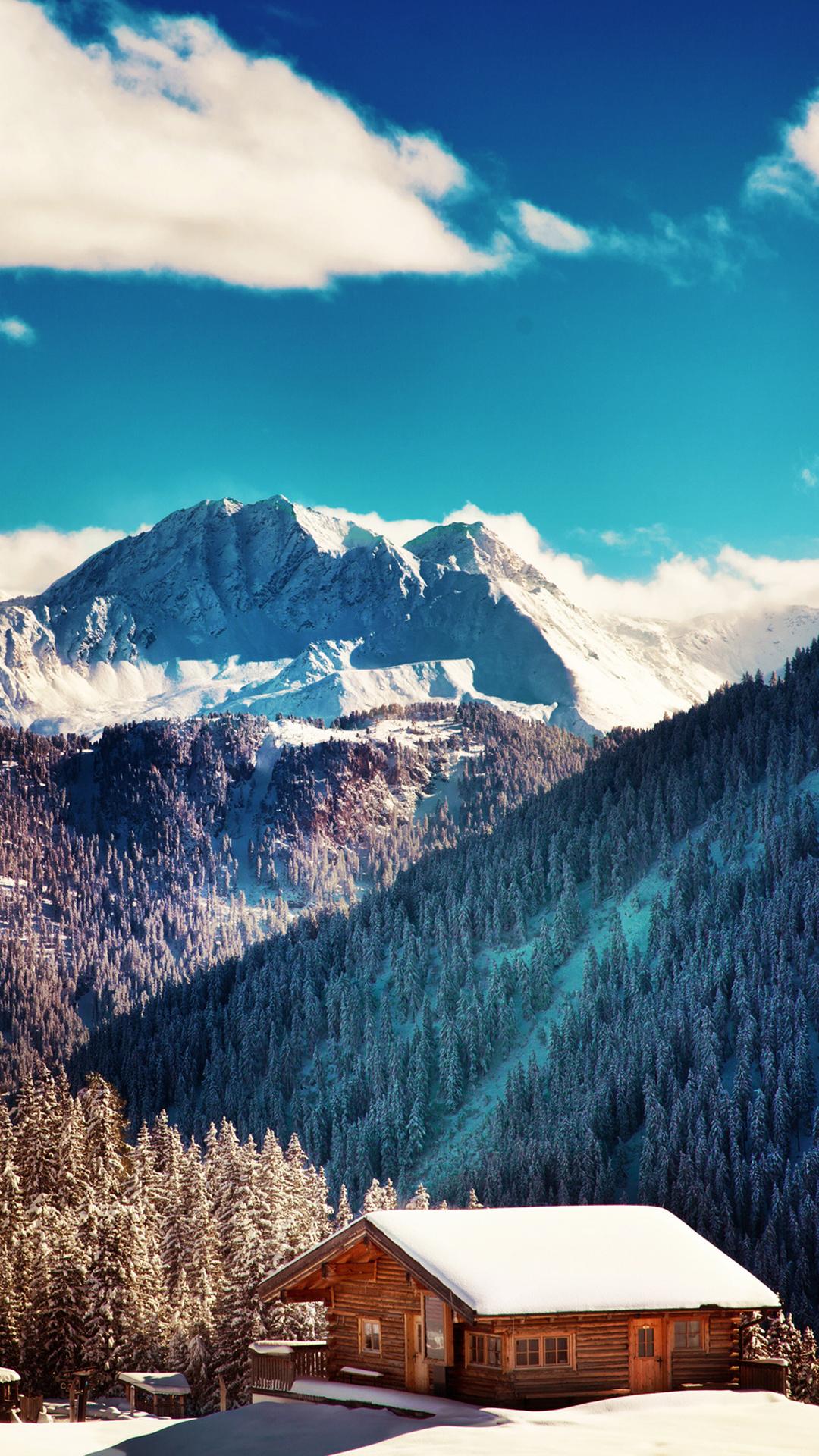 Mountains Chalet Winter Landscape iPhone 6 Plus HD Wallpaper