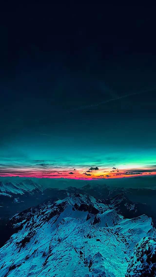 Sky On Fire Mountain Range Sunset iPhone 5 Wallpaper
