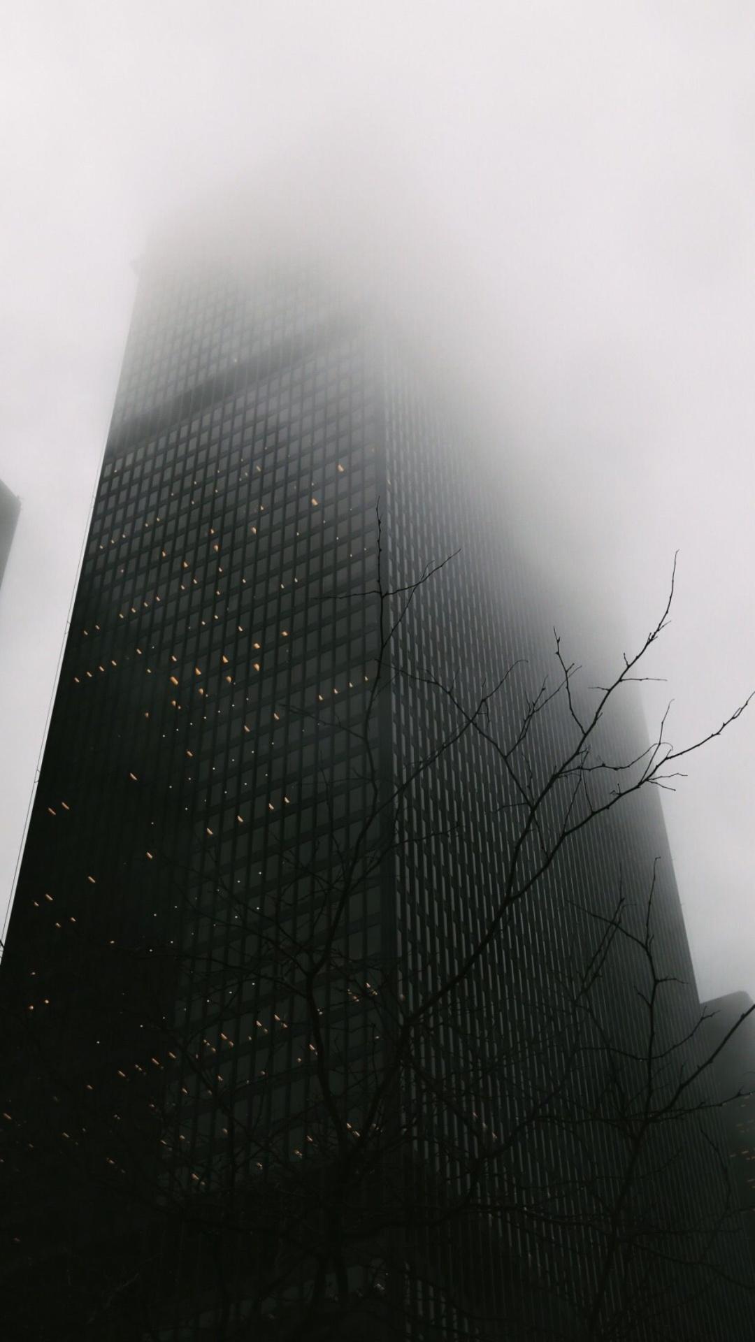 Skyscraper Covered In Fog iPhone 6 Plus HD Wallpaper
